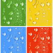 Water_drops_four_different_colors — Stock Vector