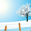 Winter landscape with tree — Stock Vector #1708816