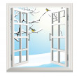 Winter open window — Stock Vector