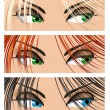 Stock Vector: Woman eyes different colors