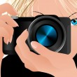 Girl holding camera - Stock Vector