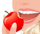 Woman eating red apple — Stock Vector