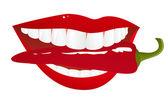 Lábios de mulher com pimenta — Vetorial Stock