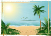 Beautiful tropical beach — Stock Vector