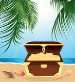 Money trunk on the beach — Stock Vector