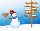 Snowman and arrow — Stock Vector