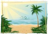 Praia tropical — Vetorial Stock