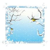 Winter frame with trees branch and birds — Stock Vector