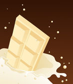 White chocolate falling in milk — Stock Vector