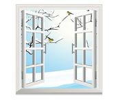 Janela aberta de inverno — Vetorial Stock