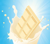 White chocolate in milk splash — Stock Vector