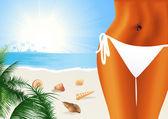 Garota bonita sexy na praia — Vetorial Stock