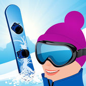 Snowboarder on the slope — Stock Vector