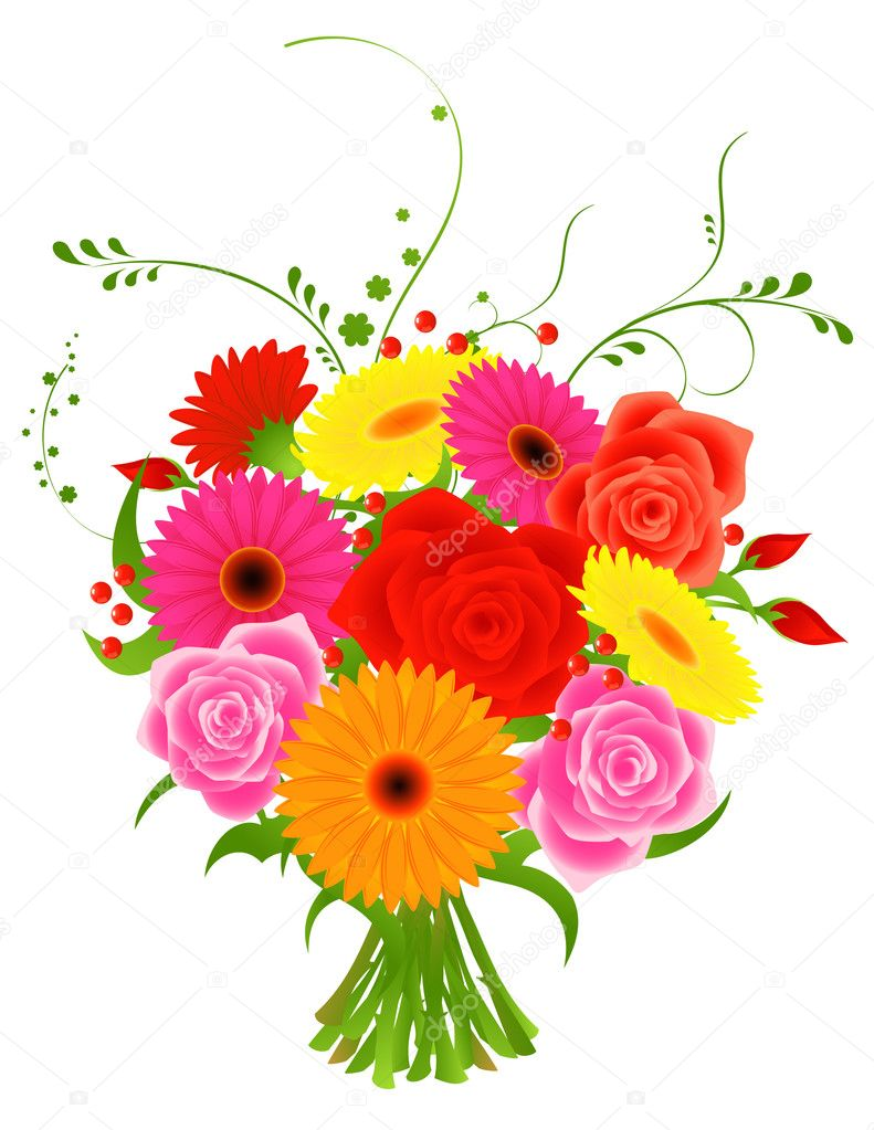 Bunch of flowers, vector illustration — Imagens vectoriais em stock #1708199