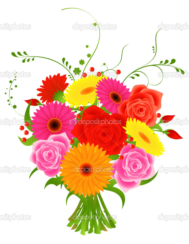 Bunch of flowers, vector illustration  Stock Vector #1708199