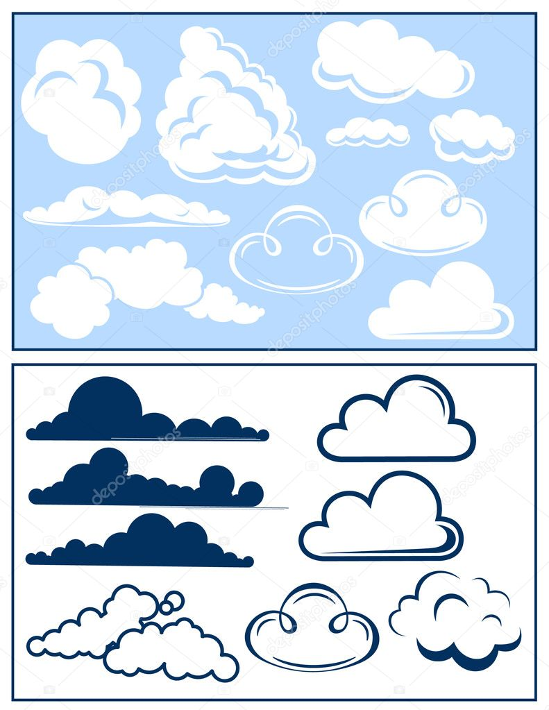 Cloud set, vector illustration — Stock Vector #1708270