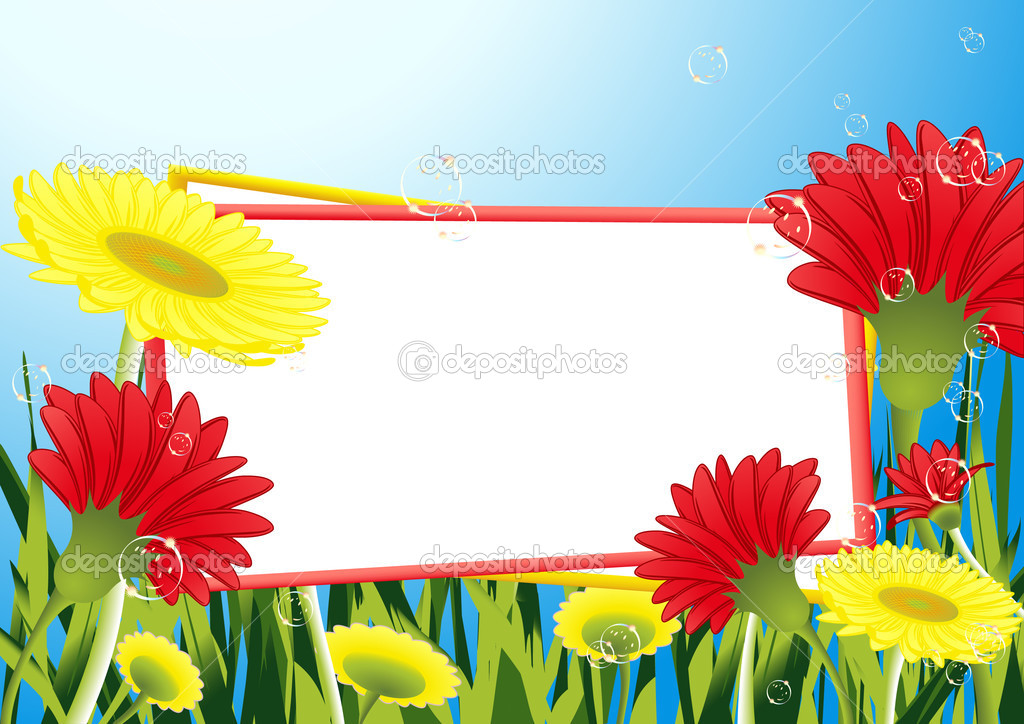 Frame in the flower field, vector illustration — Stock Vector #1708317