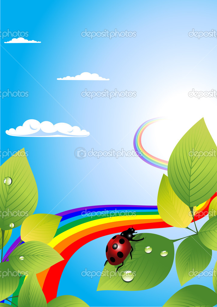 Ladybird and rainbow, vector illustration — Stock Vector #1708328