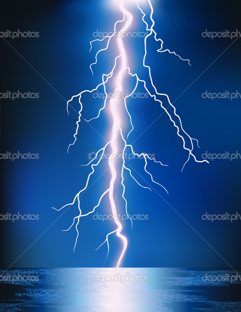 Lightning in the night, vector illustration — Stock Vector #1708416