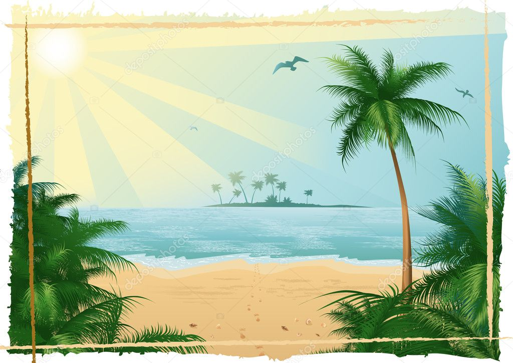 Vector illustration, tropical beach — Stock Vector #1708578