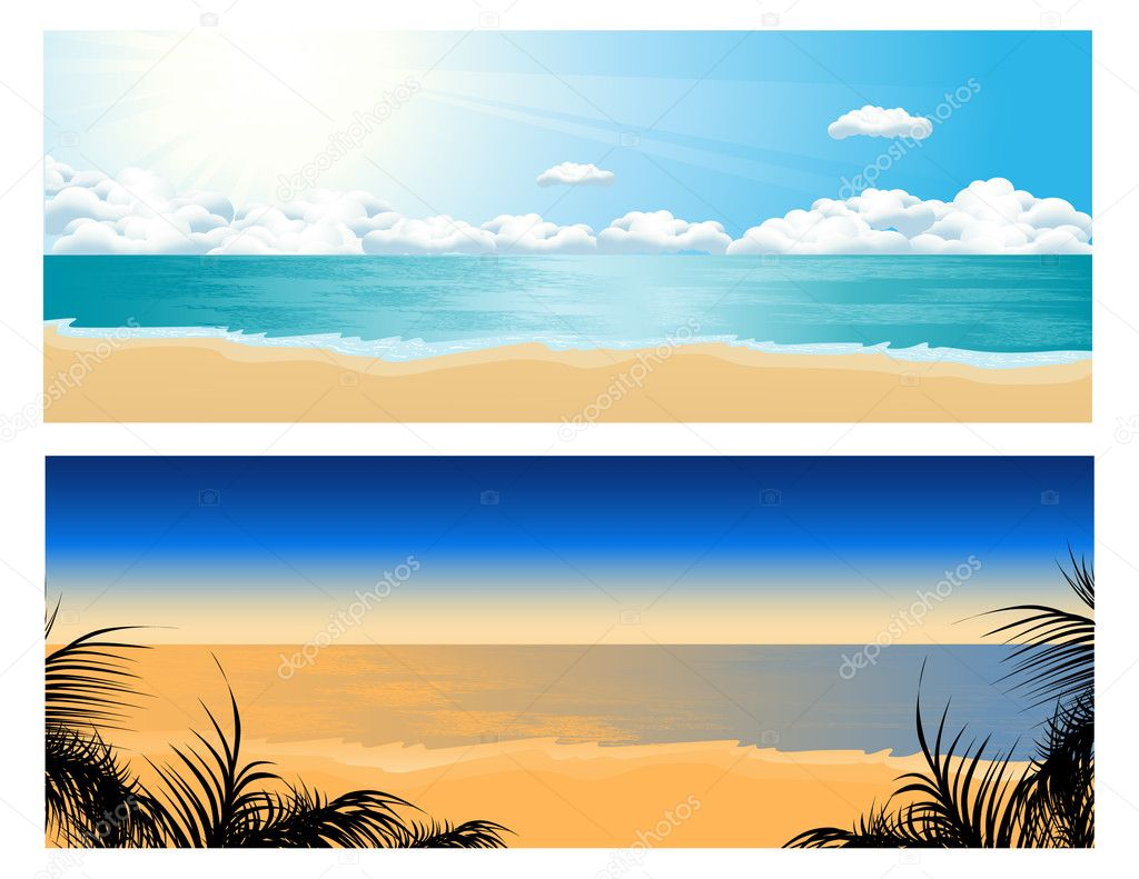 Tropical beach set, vector illustration — Stock Vector #1708595