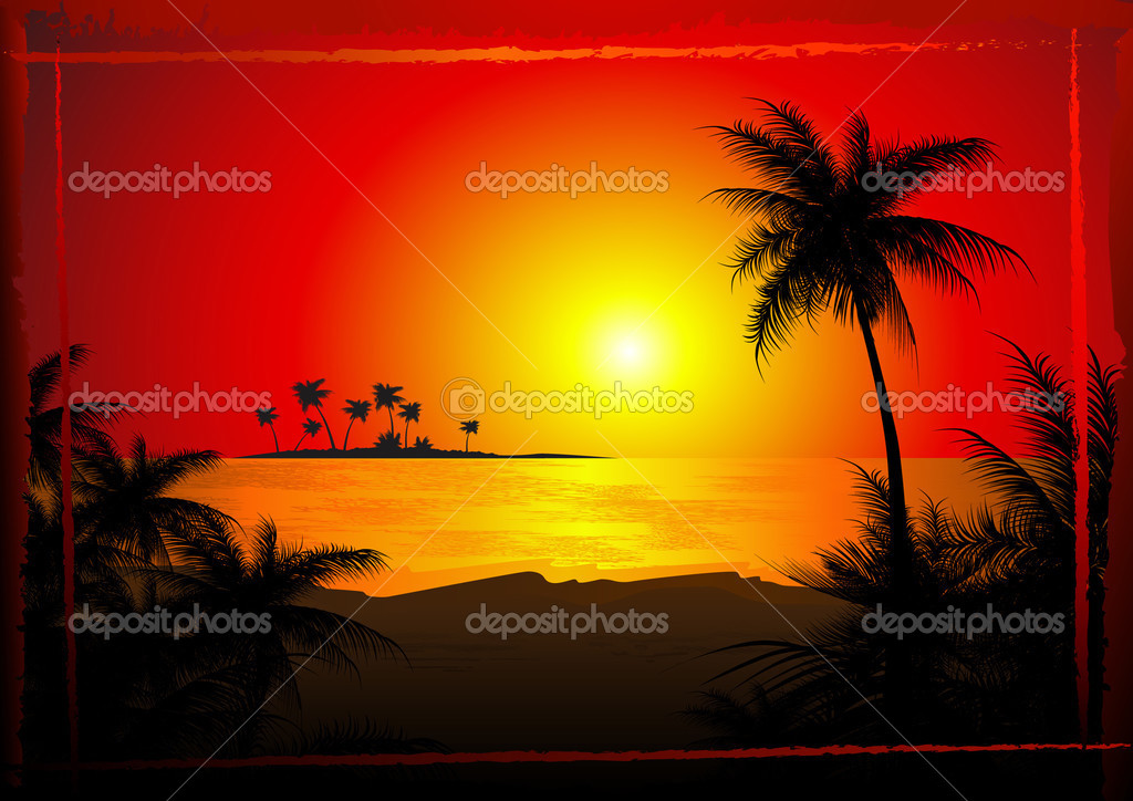 Tropical beach sunset, vector illustration — ベクター素材ストック #1708605