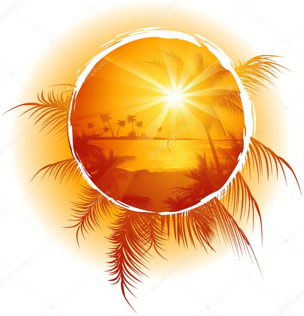 Tropical frame, sunset on the beach, vector illustration  Stock Vector #1708635