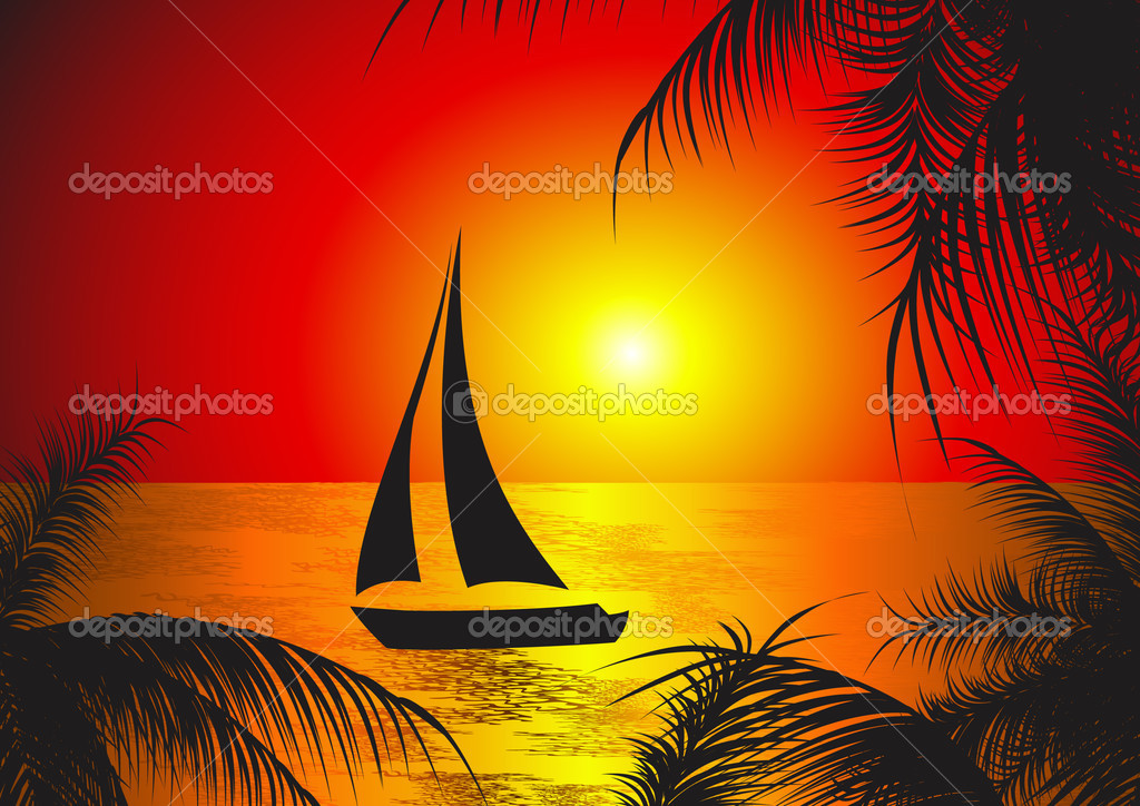 Yaght in the sunset, vector illustration  Stock Vector #1708796