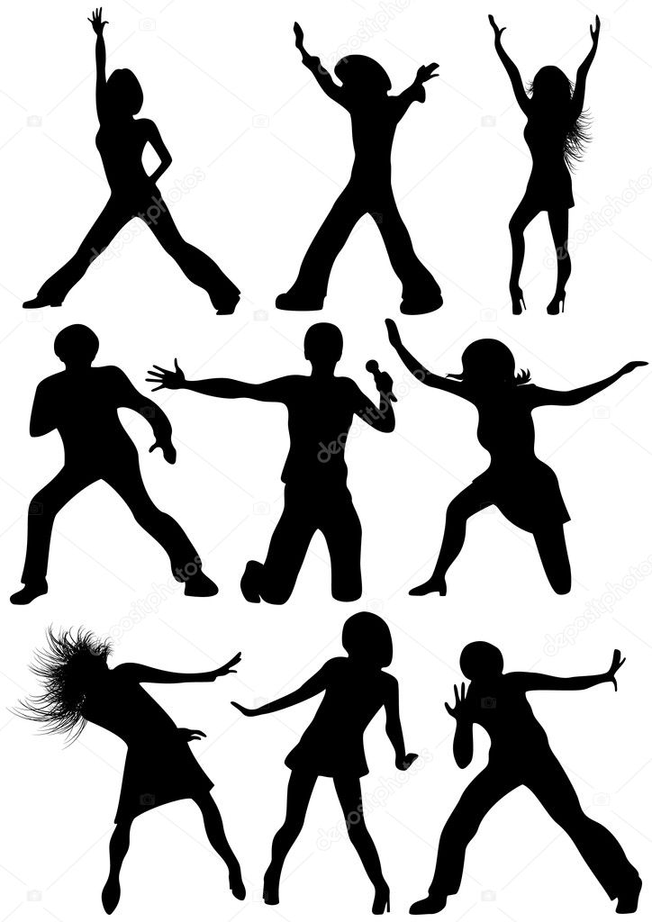 Dancing sihluoettes, vector illustration — Stock Vector #1708863