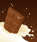 Chocolate falling in milk — Stock Vector