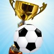 Stock Vector: Competition cup and football ball