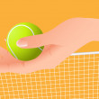 Hand holding tennis ball - Stock Vector