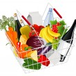 Basket full with produce - Stock Vector