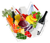 Basket full with produce — Vecteur