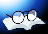 Glasses and book — Vector de stock