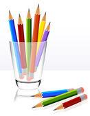 Pencils in glass — Stock Vector