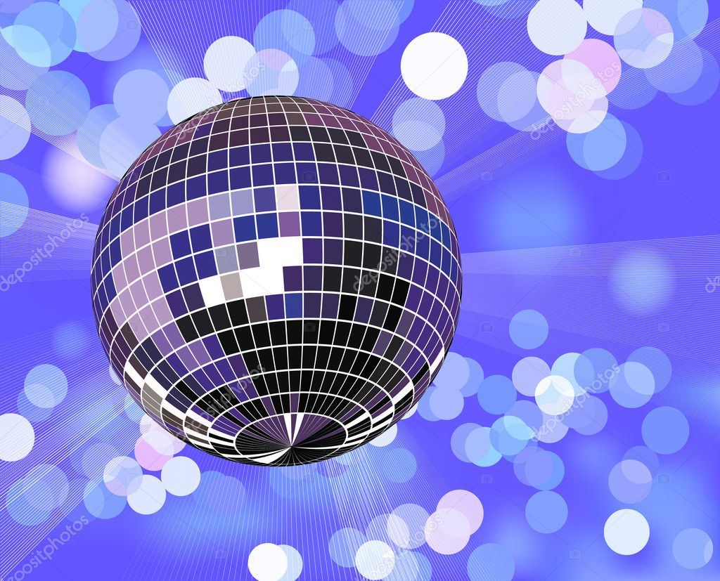 Disco ball in defocused light,  vector illustration — Stock Vector #2032437