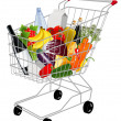 Shopping basket with produce — Stockvectorbeeld