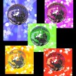 Colored disco balls in defocused lights - Stock Vector