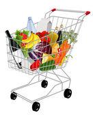 Carrinho de compras com produtos — Vetorial Stock