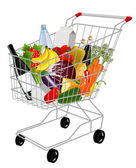 Shopping basket with produce — 图库矢量图片