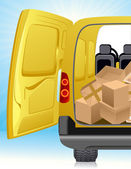 Golden delivery minibus — Stock Vector