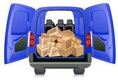Parcels in minibus — Stock Vector