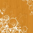 Floral scroll on wooden background - Stock Vector