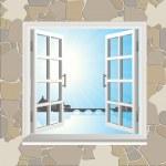 Open window set — Stock Vector