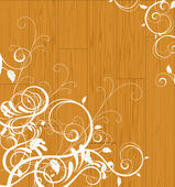 Floral scroll on wooden background — Stock Vector