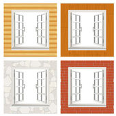 Open window set — Stock Vector