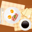 Breakfast and coffee — Stock Vector