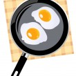 Fried eggs — Stock Vector