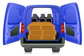 Pallet in minibus — Stock Vector